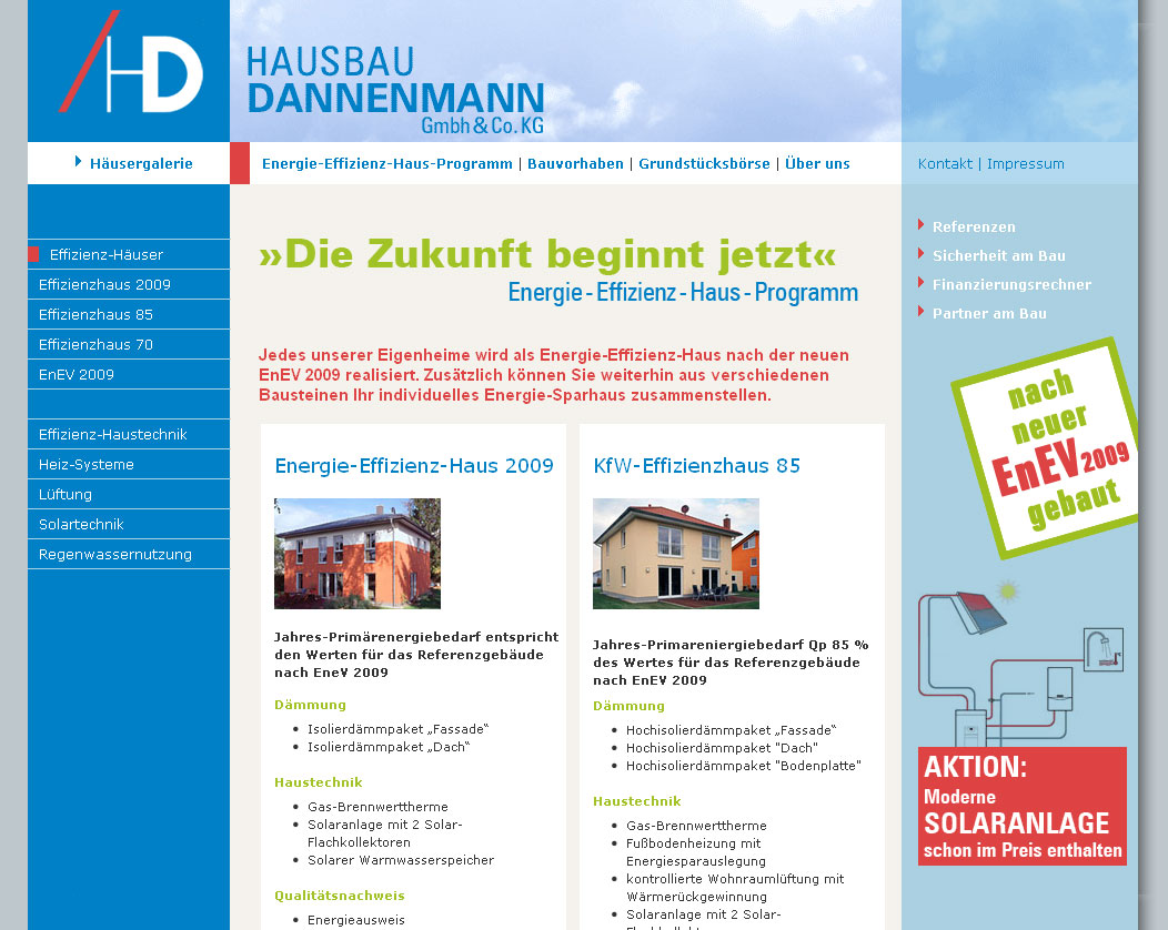 Internetseite für Hausbau Dannenmann