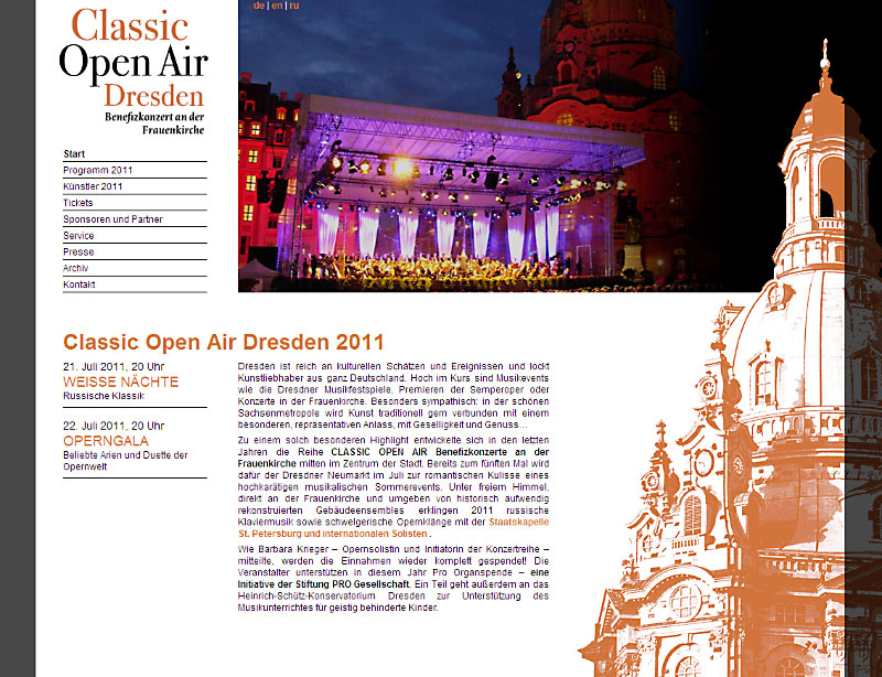 Classic Open Air Dresden: Internetseite